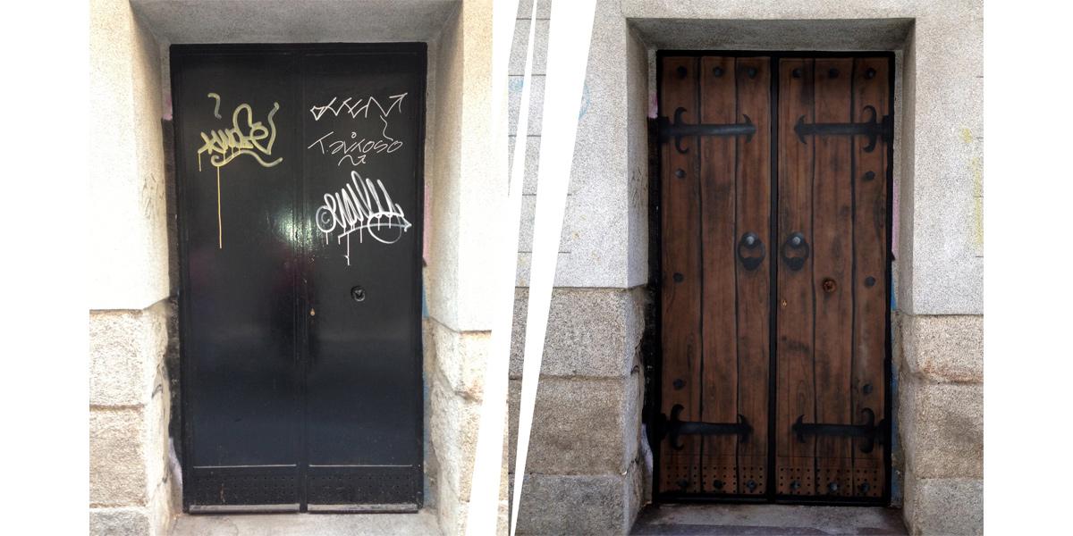 Transformación de puerta con trampantojo de graffiti en Madrid
