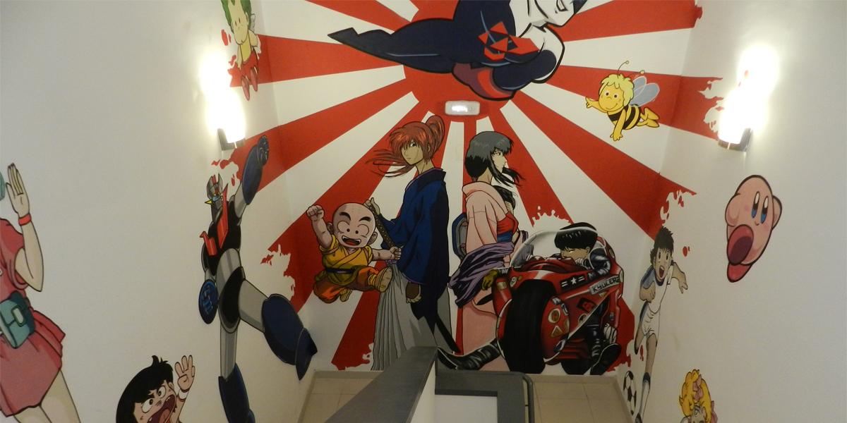 Graffiti de Kaneda, Kenshin y Krilin en oficina de Madrid.