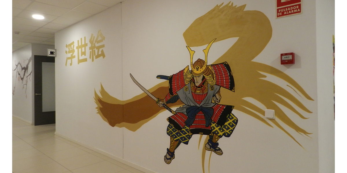 Graffiti de samurái con estética de Ukiyo-e en la oficina de Kyocera Madrid.