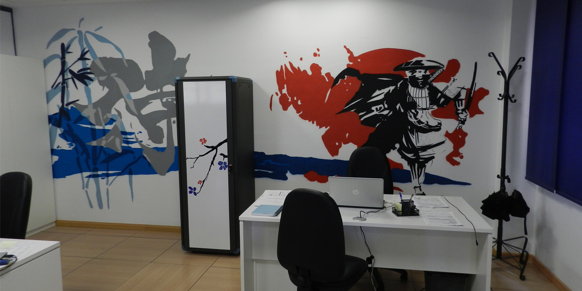 Graffiti profesional japonés en oficina de Madrid
