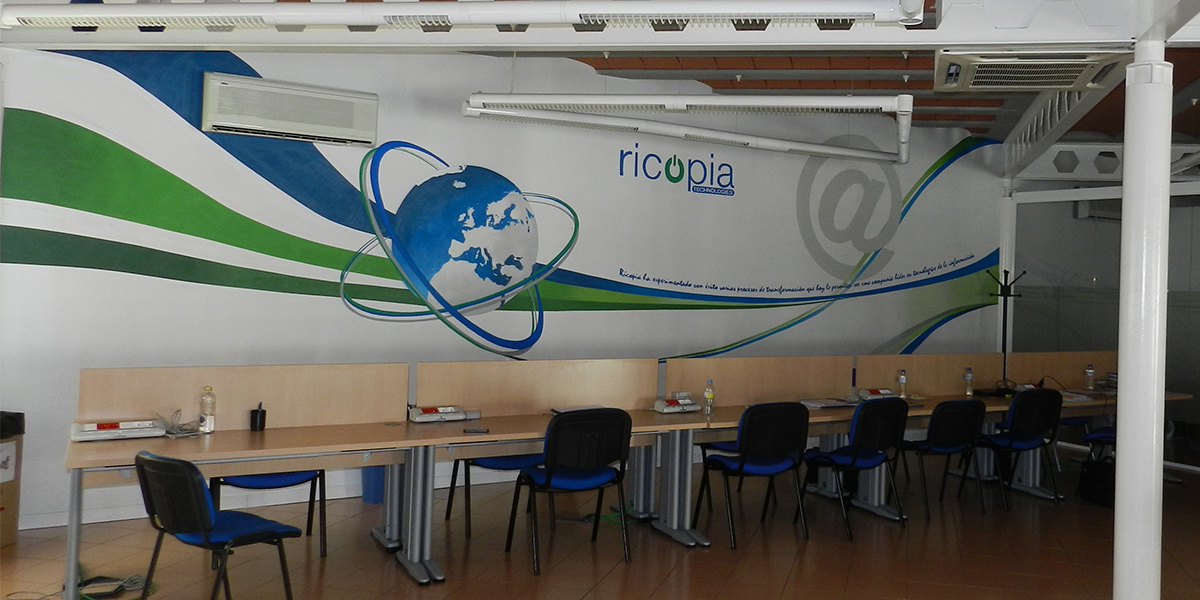 Graffiti mural en oficina tecnológica de Madrid