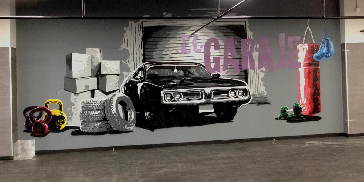 Mural de El Garaje en Box de Crossfit