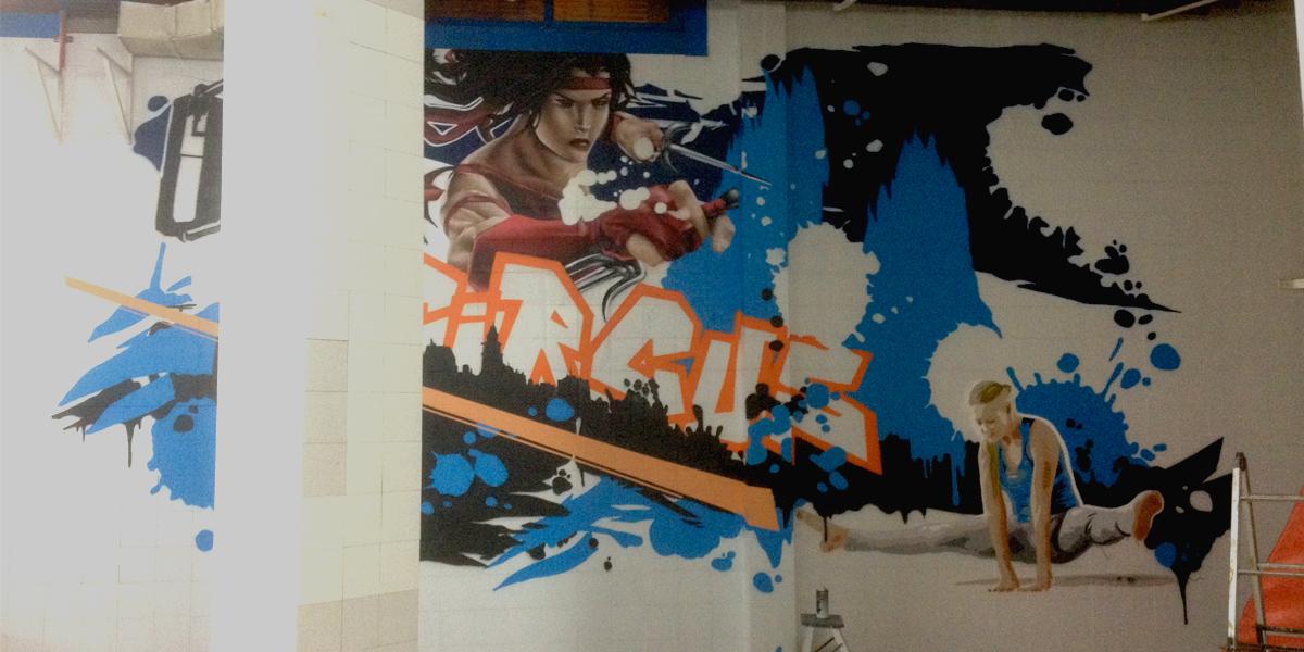 Elektra en graffiti de gimnasio en Segovia