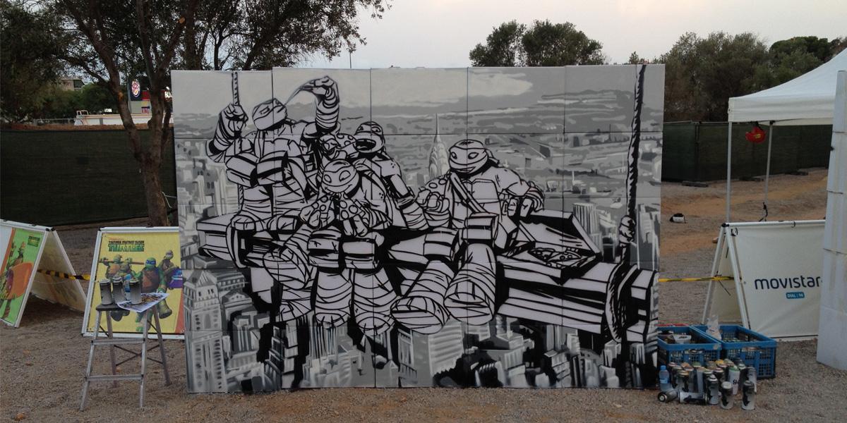 Mural de las tortugas ninja en Nueva York