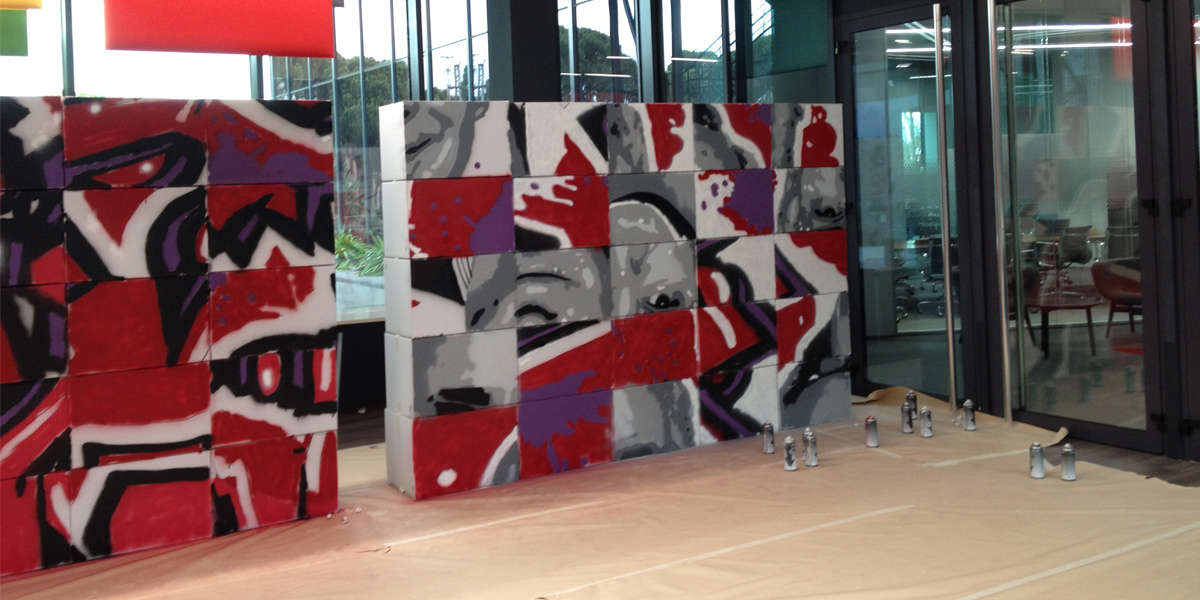 Actividad de graffiti profesional en Madrid