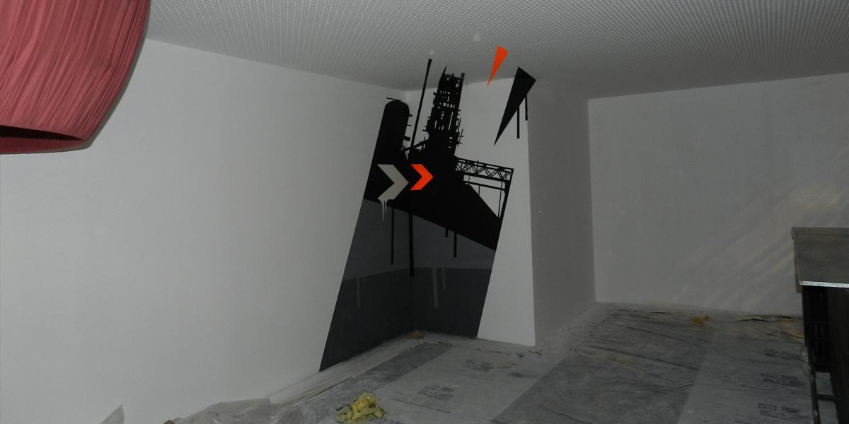 Graffiti anamórfico en pared en Madrid