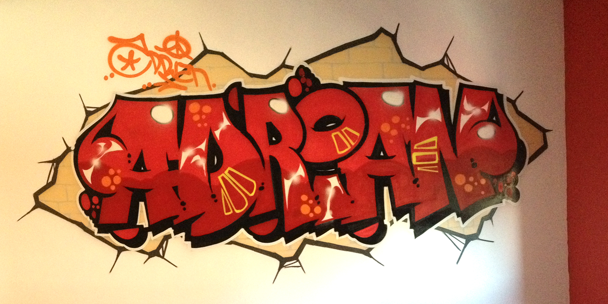Graffiti profesional en habitación juvenil en Toledo