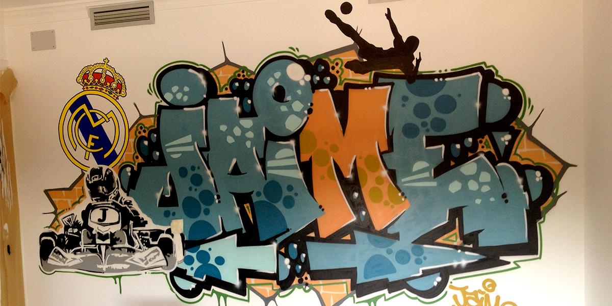 Decoración de habitación juvenil de Madrid con graffiti