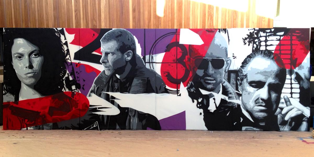 Graffiti en directo de protagonistas de películas