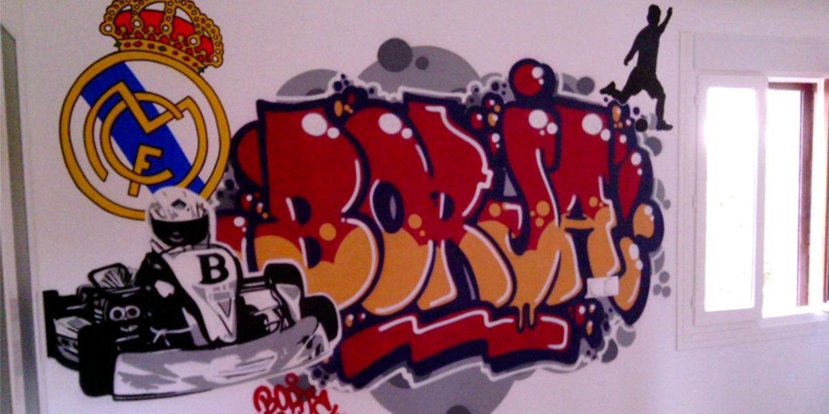 Graffiti profesional con el nombre de Borja