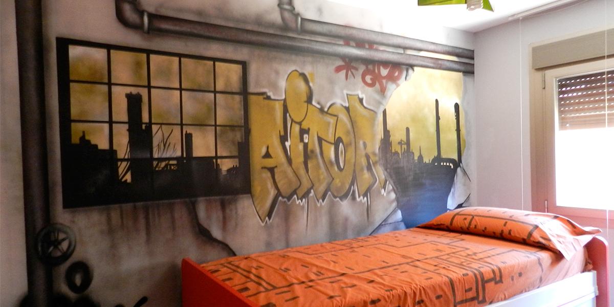 Graffiti con estilo de fábrica abandonada