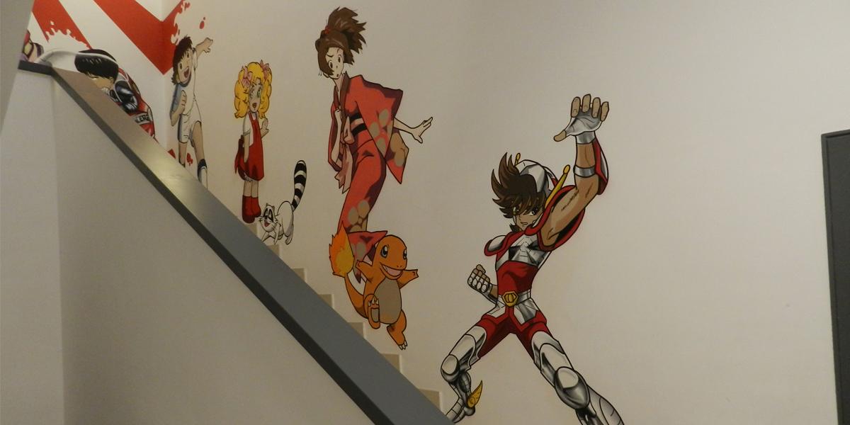 Graffiti de Candy, Fuu, Charmander, Pegaso y Oliveren oficina de Madrid