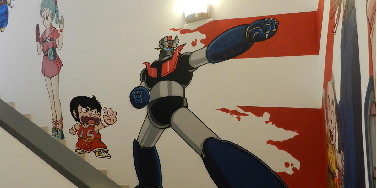 Graffiti de Mazinger, Bulma y Chicho en la oficina de Kyocera Madrid.