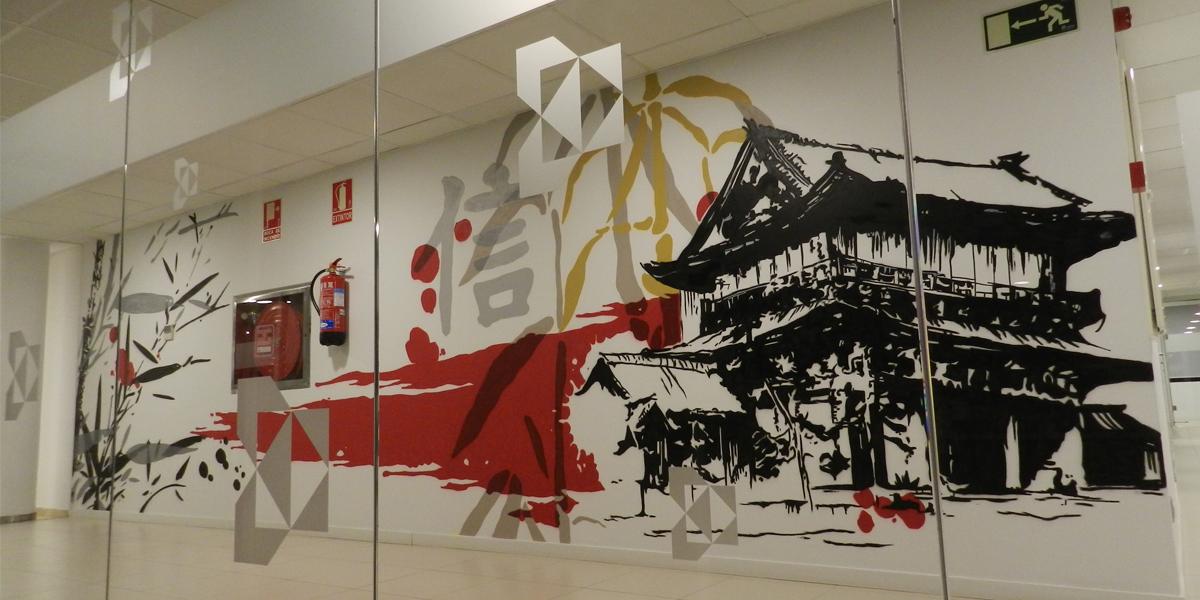 Graffiti de pagoda en la oficina de Kyocera Madrid.