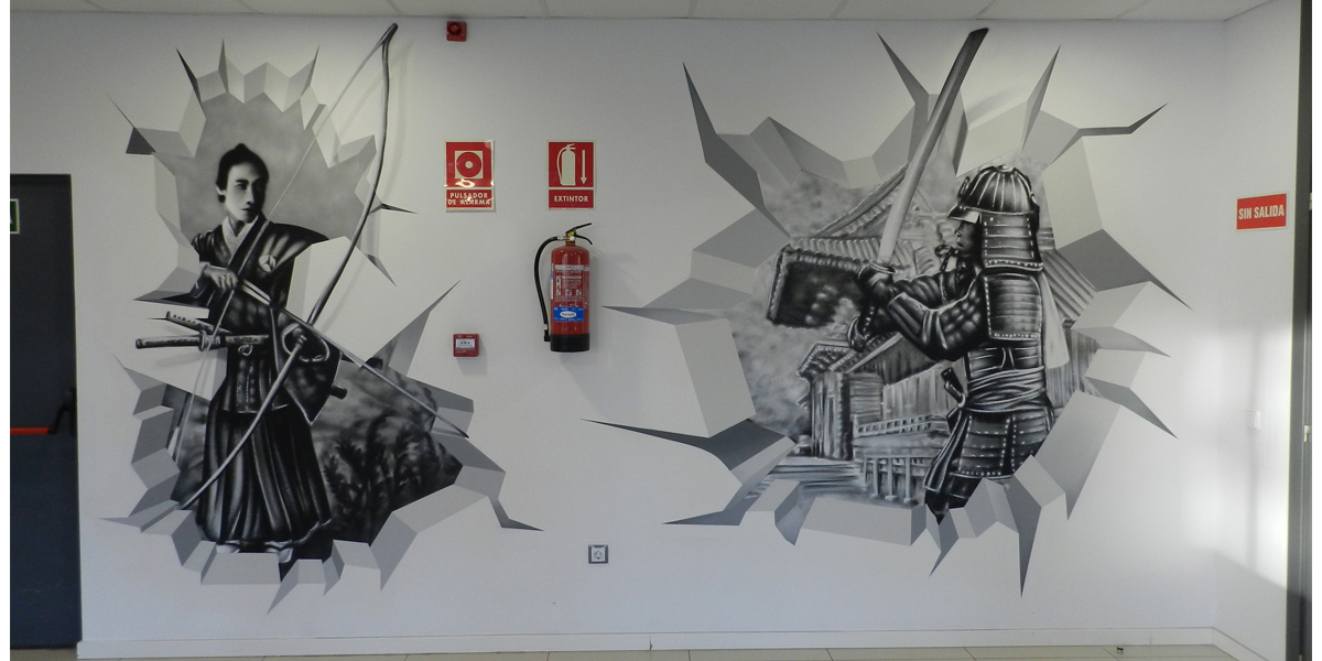 Trampantojo mural de samuráis en Kyocera Madrid.
