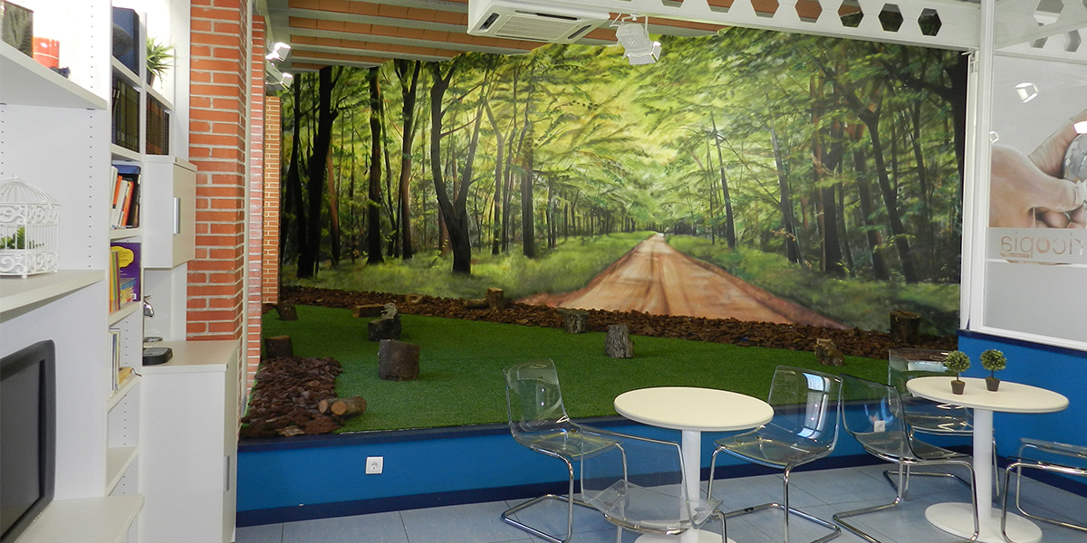 Graffiti profesional de paisaje en oficina