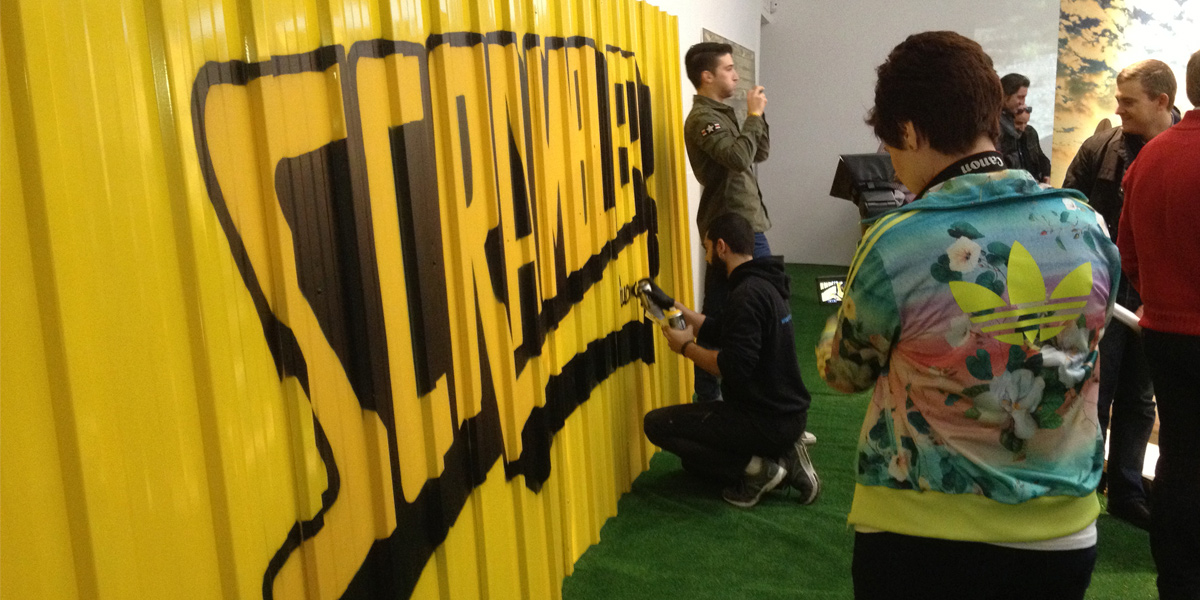 Live painting en evento de Scrambler en Madrid