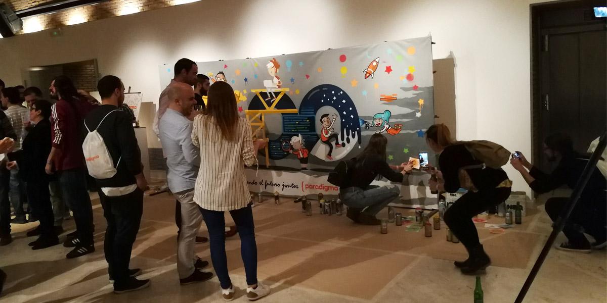 Grafiti pintado en directo en evento de empresa.