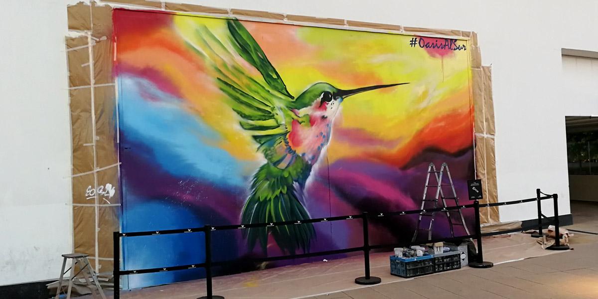 Grafiti pintado en directo en Leganés, Madrid.