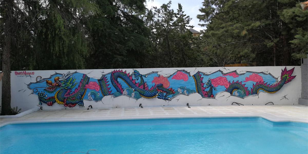 Graffiti profesional de dragón chino en piscina.