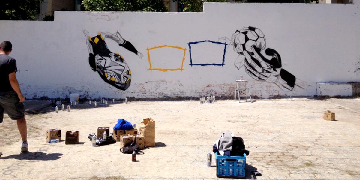 Graffiti profesional para cabecera de El Partidazo del Plus