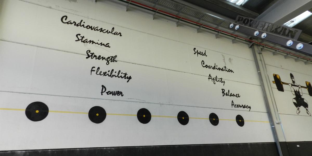 Graffiti con los principios del CrossFit en Box