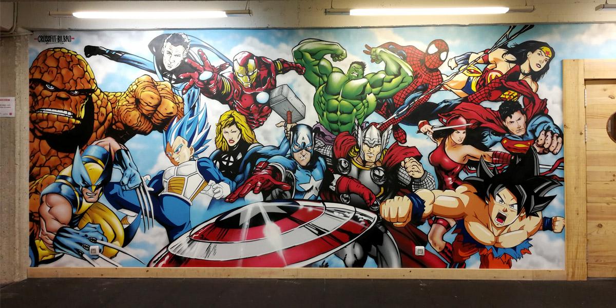 Mural decorativo en box de Crossfit.