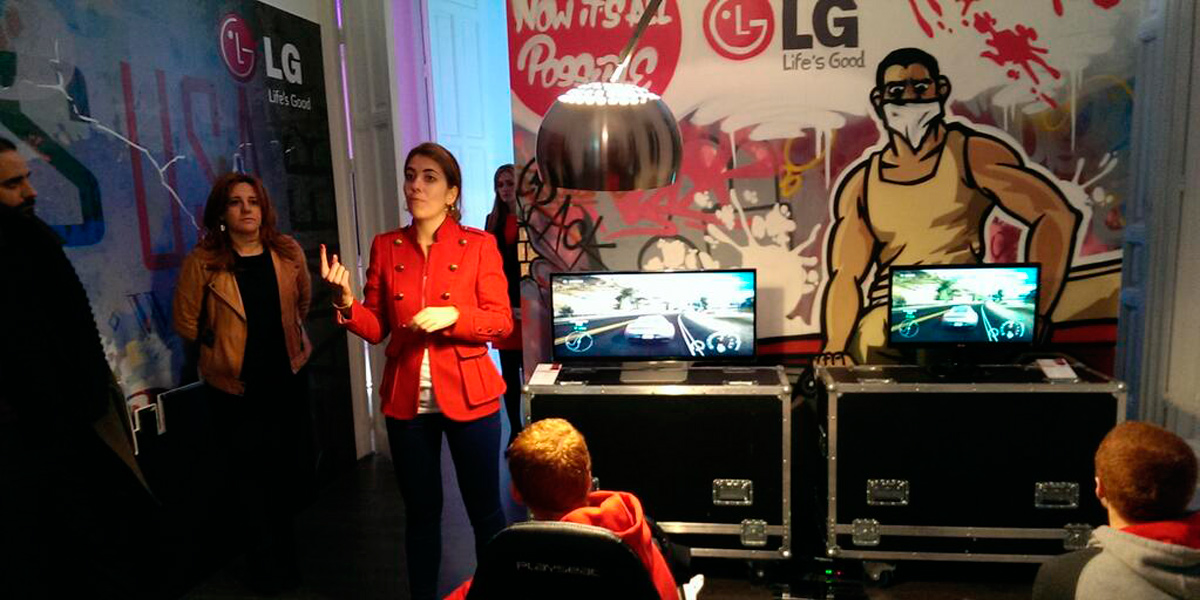 Graffiti profesional en evento de LG en Madrid