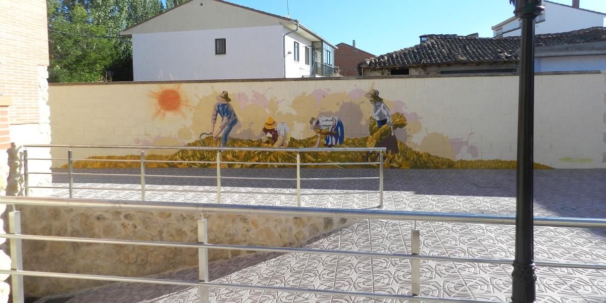 Graffiti profesional de segadores en patio