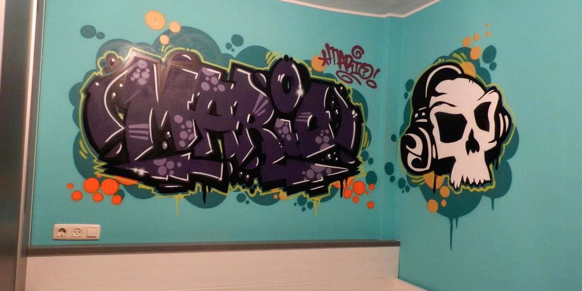 Graffiti en habitación juvenil en Segovia