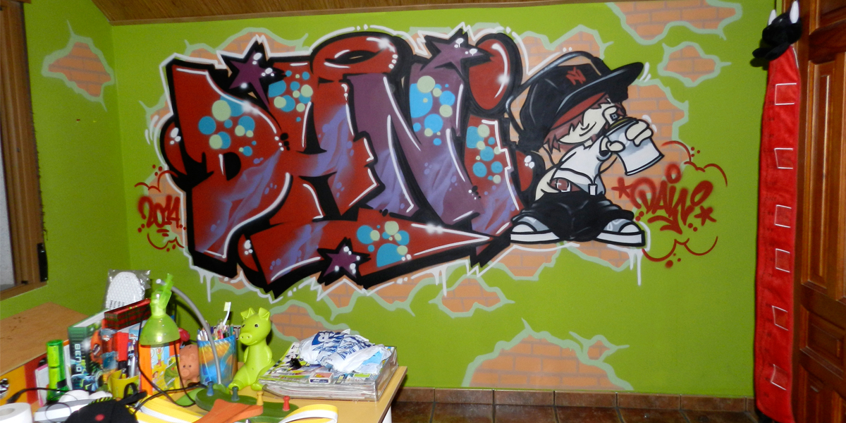 Graffiti profesional con el nombre de Dani en habitación