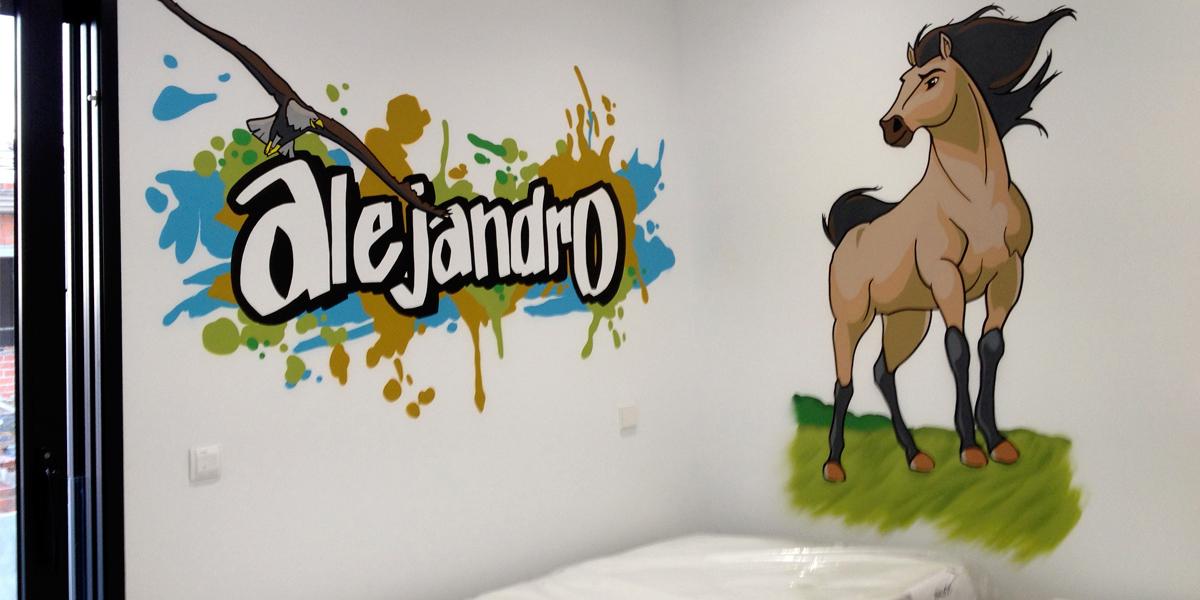Graffiti profesional con el nombre de Alejandro