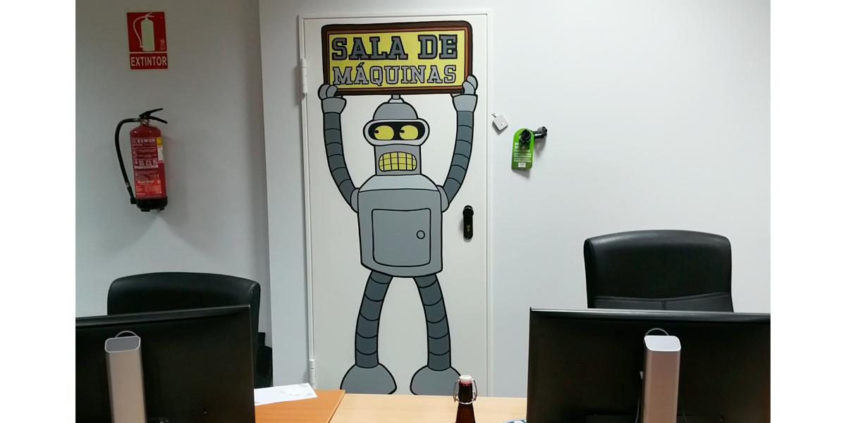 Graffiti profesional de Bender en oficina
