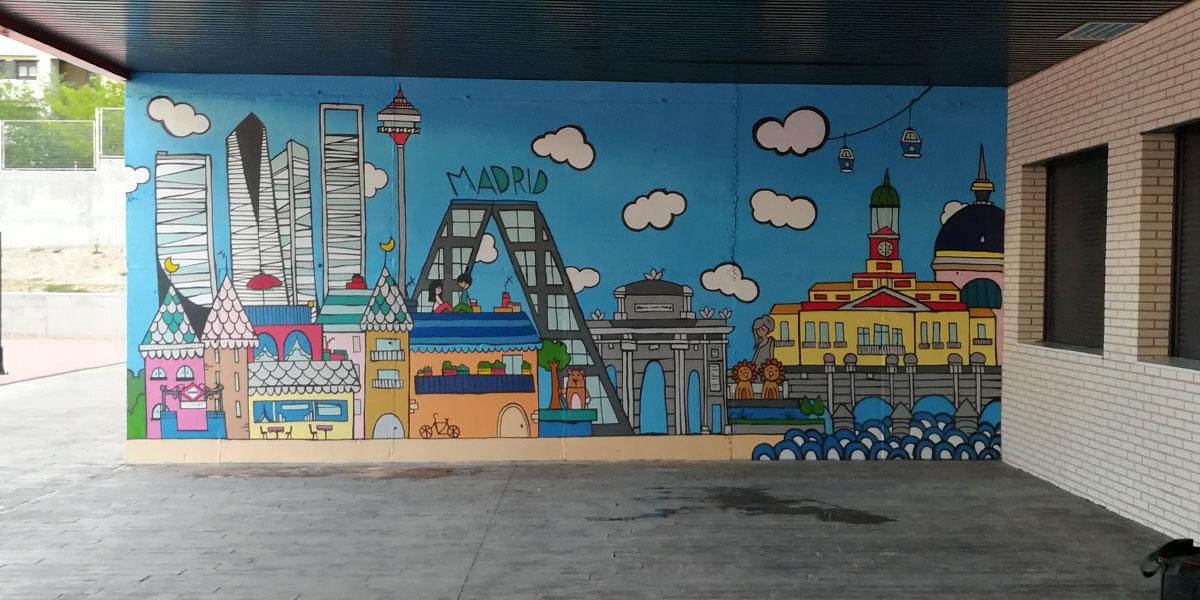 Grafiti de Madrid con estilo de ilustración.