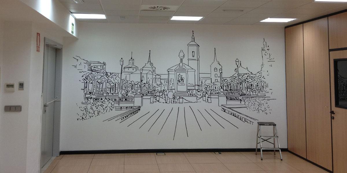 Mural de Alcalá de Henares en oficina.