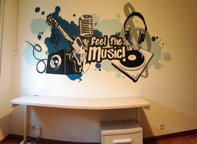 Graffiti en habitación de música.