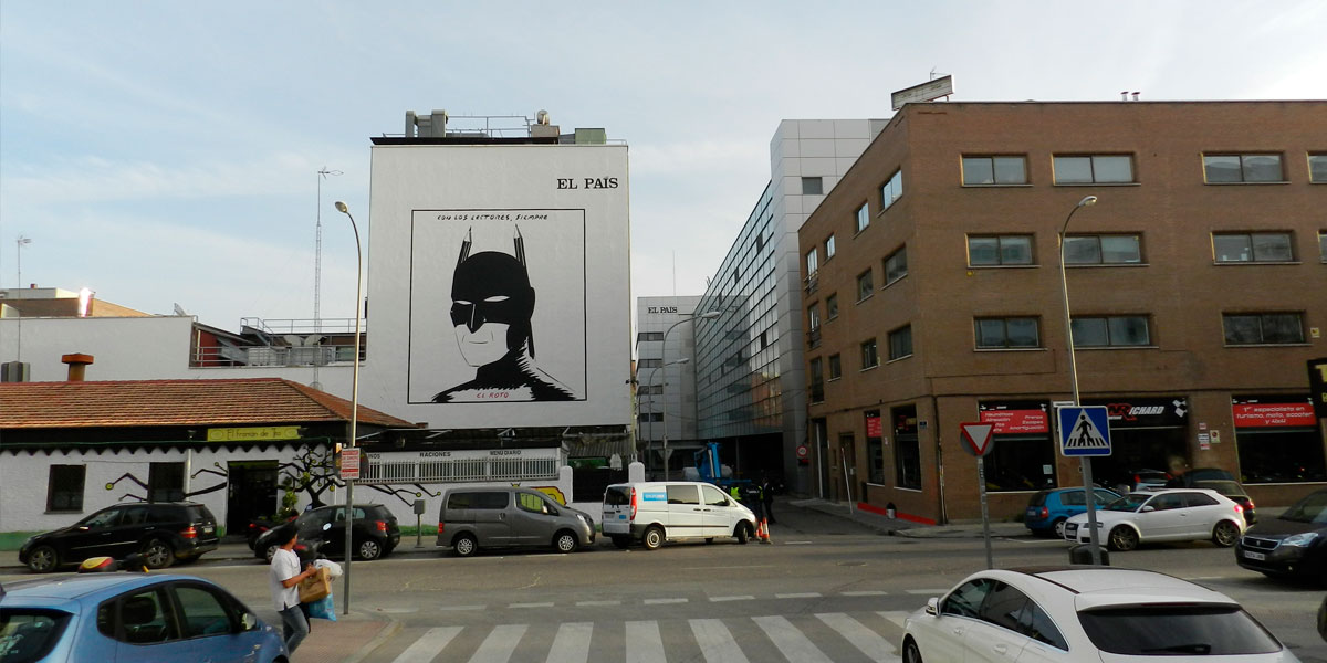 Mural homenaje a El Roto en Madrid.