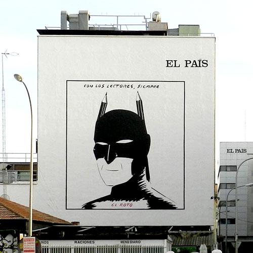 Graffiti homenaje a El Roto en la fachada de El País de Madrid