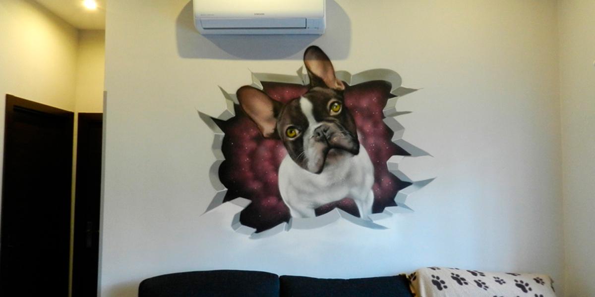 Graffiti de Bull-dog francés en salón de Madrid.