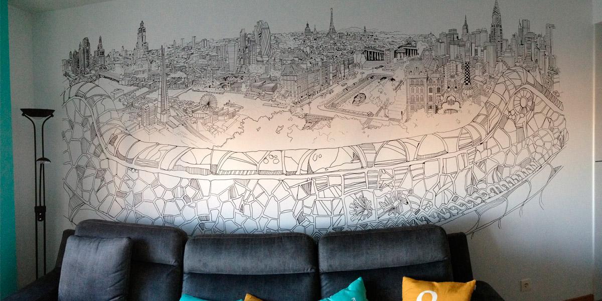 Graffiti de ciudades en salón.