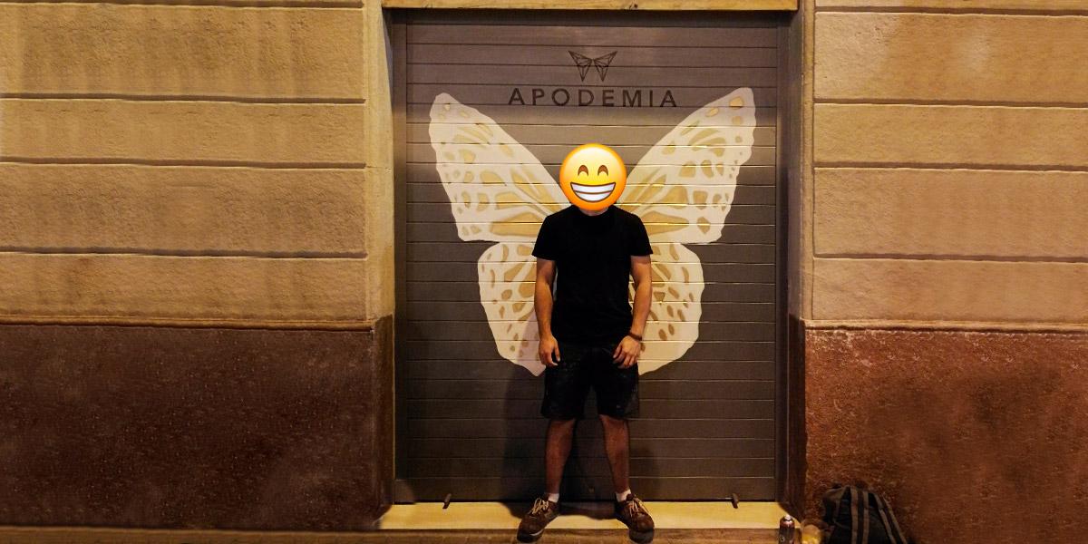 Graffiti de alas de mariposa en cierre de Barcelona.