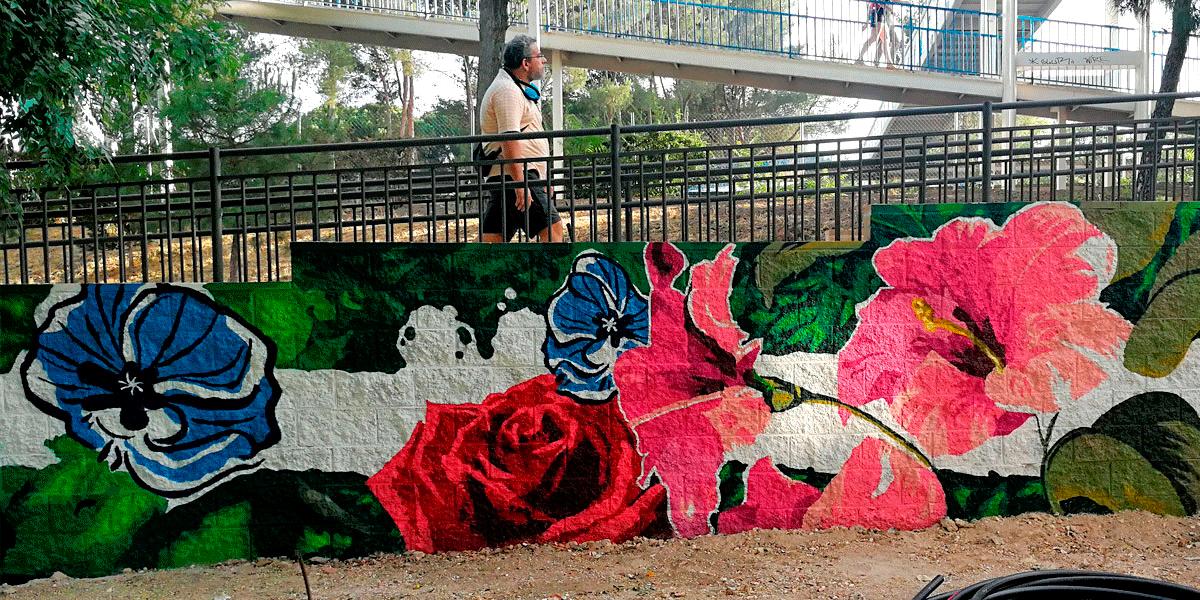 Graffiti mural en Madrid Río.