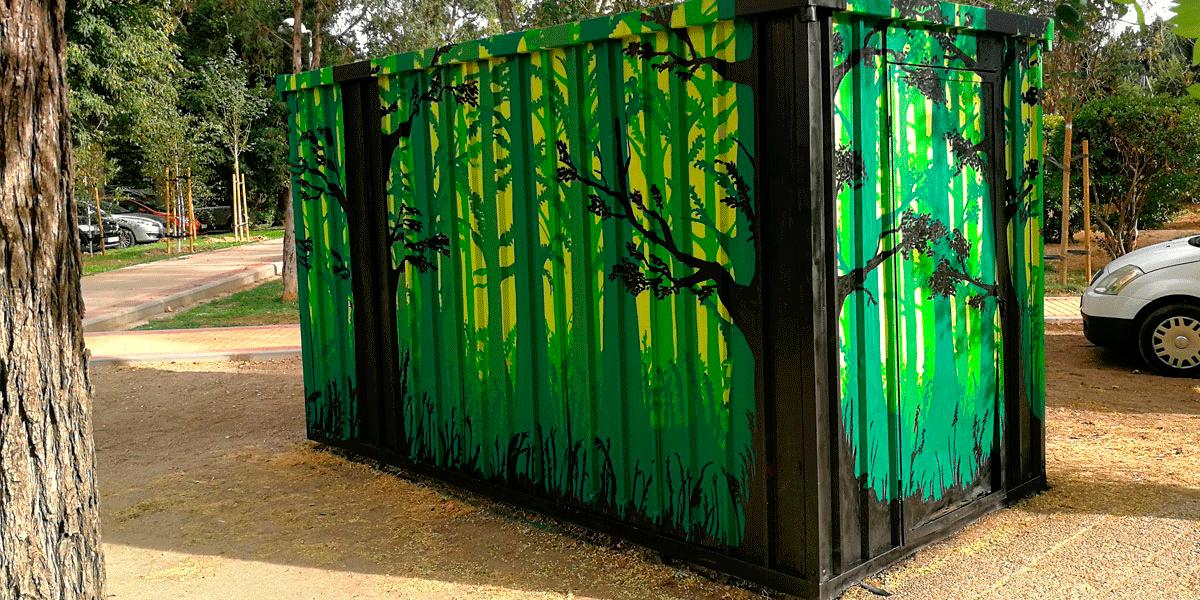 Graffiti profesional en caseta en Madrid Río.