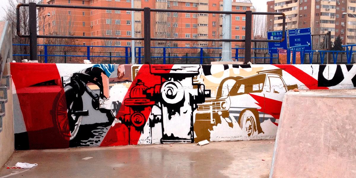 Graffiti en Skate Park de Madrid Río